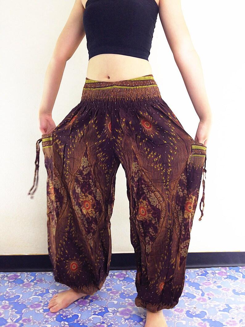 Harem Pants Women Yoga Pants Aladdin Pants Thai Pants Boho TS44 BROWN