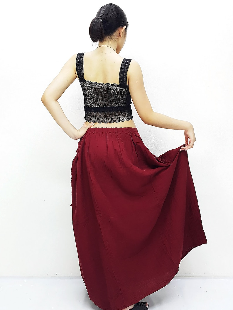 PSS10 Women Clothing Double Cotton Skirts Long Skirts Comfy Skirts Luxury Unique Skirts Maxi Skirt Gypsy Skirt Red