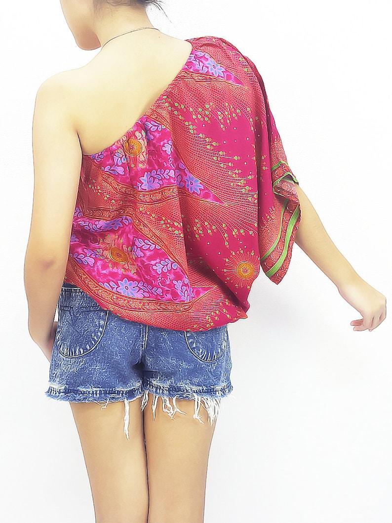 573cc2f01d756d Women Fashion Printed Rayon Tops Open Shoulder Blouse Women