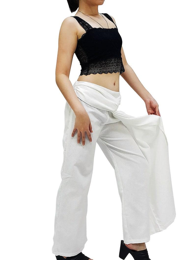 PT193 Women Fashion Clothing Organic Cotton Unique Trousers Wide Leg Pants Long Pants Comfy Pants Luxury Pants Party Pants White