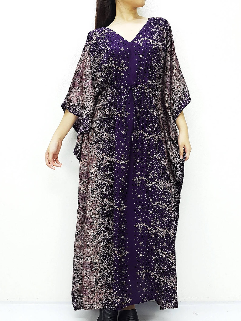 Beach Cover Up Long Dress Rayon Kaftan Plus Size Maxi Dress Boho Clothing Tunic V neck Purple KPL5 Printed Wrap Oversized Kaftan