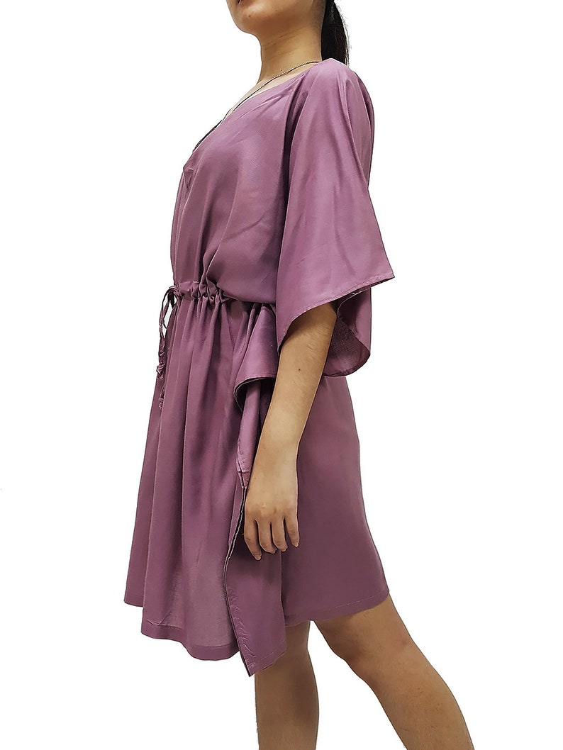 Boho Clothing Rayon Kaftan Beach Kaftan V neck Short Dress Tunic Pink KSS23 Mini Dress Solid Wrap Beach Cover up Plus Size