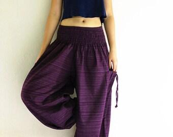 Women Harem Pants Yoga Pants Aladdin Pants Maxi Pants Baggy Pants Gypsy Pants Clothing Trouser Cotton Pants Purple (TCC19)