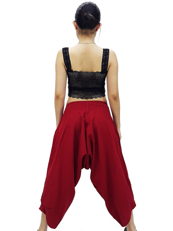 MSP12 Samurai Pants Cotton Unisex Harem Pants Ninja Pants Aladdin Pants Maxi Pants Gypsy Pants Drop Crotch Pants Trouser NavyBlue White