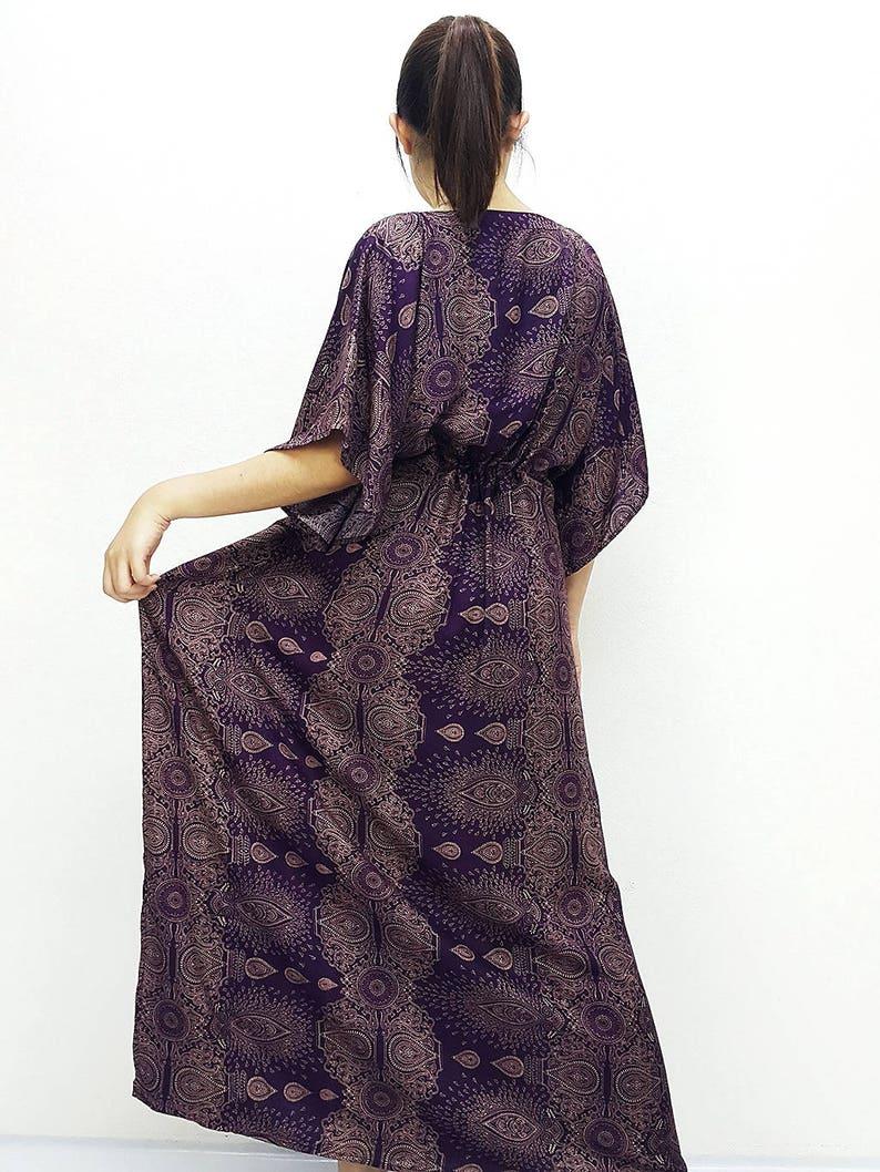 Printed Wrap Plus Size Maxi Dress Purple KPL29 Beach Cover Up V neck Tunic Beach Kaftan Boho Clothing Long Dress Rayon Kaftan
