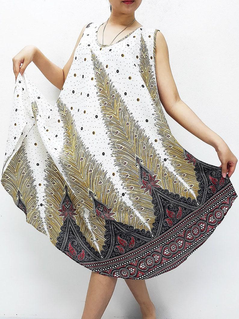 Penny Dress Midi Dress Rayon Dress Boho Dress Hobo Dress Maternity Dress Casual Dress Sleeping Dress Comfy Dress Feather White PND26