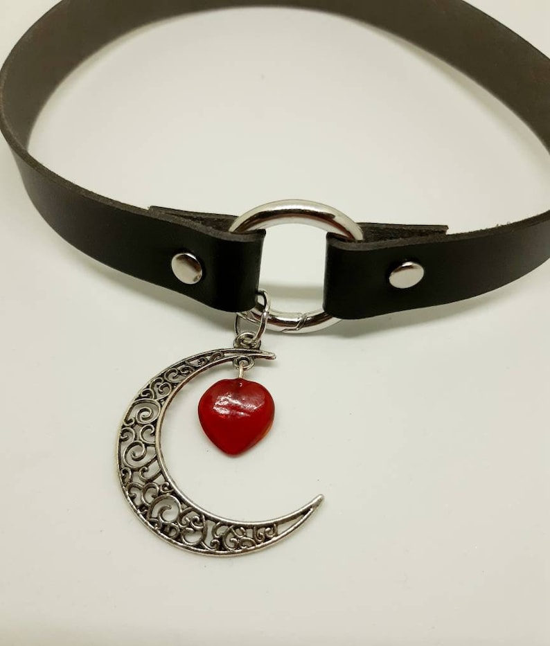 Leather choker necklace with crescent moon and red agate stone heart pendant