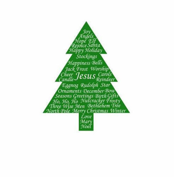 Christmas Tree with Words Cut Out Decal: Christmas Themes | Etsy