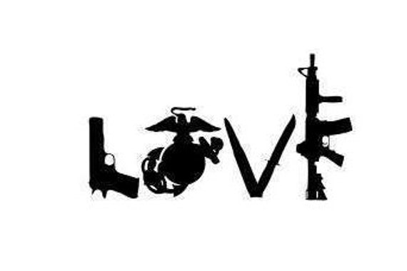 Love Guns Ega Decal Usmc United States Marine Marine Corp