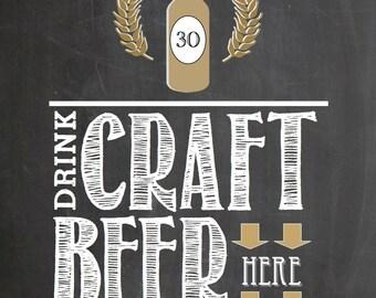 PRINTABLE Drink Craft Beer Here 8x10 PDF Download