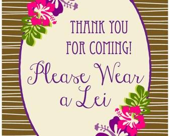 "Printable Vintage Luau Bridal Shower ""Wear a Lei"" PDF Download"