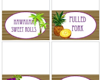 Customizable Hawaiian Luau Food Labels Printable PDF