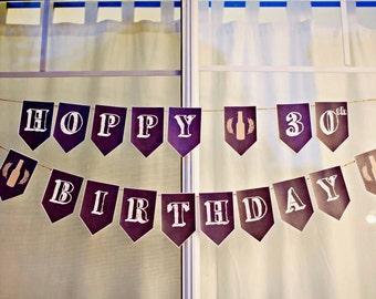 PRINTABLE Hoppy 30th Birthday Beer Party Chalkboard Banner PDF Instant Digital Download