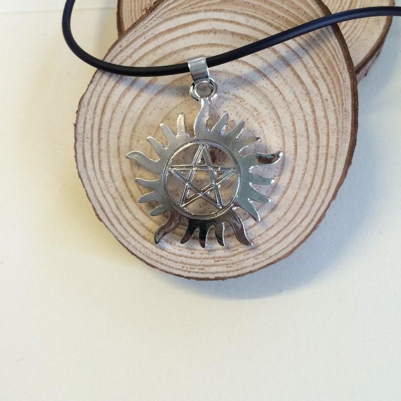 Supernatural pendant anti possession necklace, Supernatural Anti possession pentagram choker Supernatural necklace Pentagram necklace