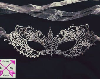 Silver Lace Masquerade Mask, Lace Masquerade Mask, Lace Goddess Mask, Burano Venetian Lace Mask, Venetian Mask, Party Masks, Anastasia Mask,