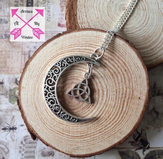 Crescent moon pendant chakra fairy moon apatite necklace pixie pagan moon necklace cresent moon clear quartz celtic