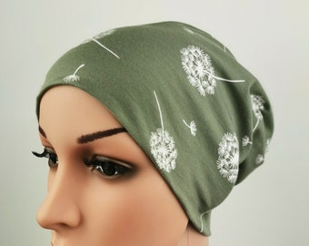 Beanie Damen Pusteblumen grün
