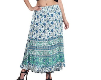 2ed03012a Cotton green blue floral women's girls multi tier long maxi skirt, boho  summer clothing, vintage 70s print, adjustable, with frilled bottom