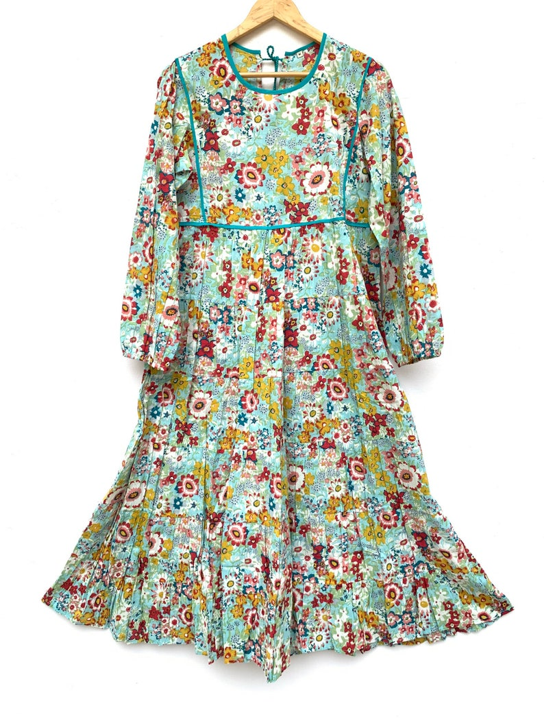 turquoise floral round neck boho long dress  tie back cotton maxi dress  casual summer dress  hippie evening gown