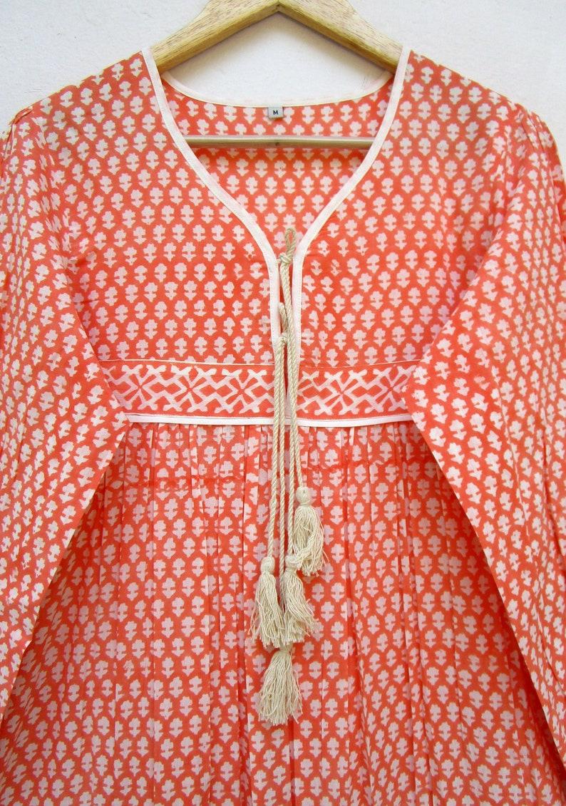 orange plants block print vintage long maxi dress long sleeve with tassel dress v neck line maxi dress