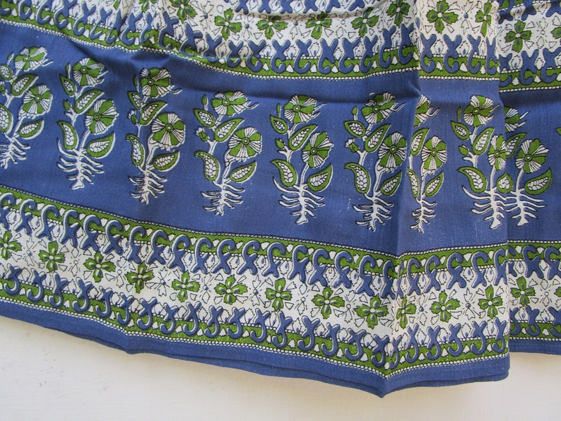 green blue flower printed handmade women/'s  collared neck maxi dress with tassel maxi dress indian dress summer resort wear