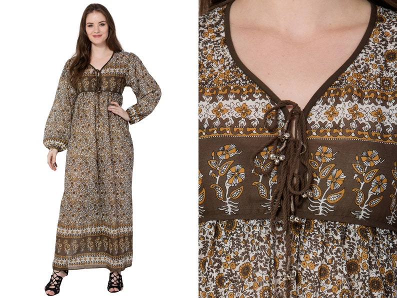 d9b5991bbb18 Coffee brown BOHO dress floral printed vintage look V Neck