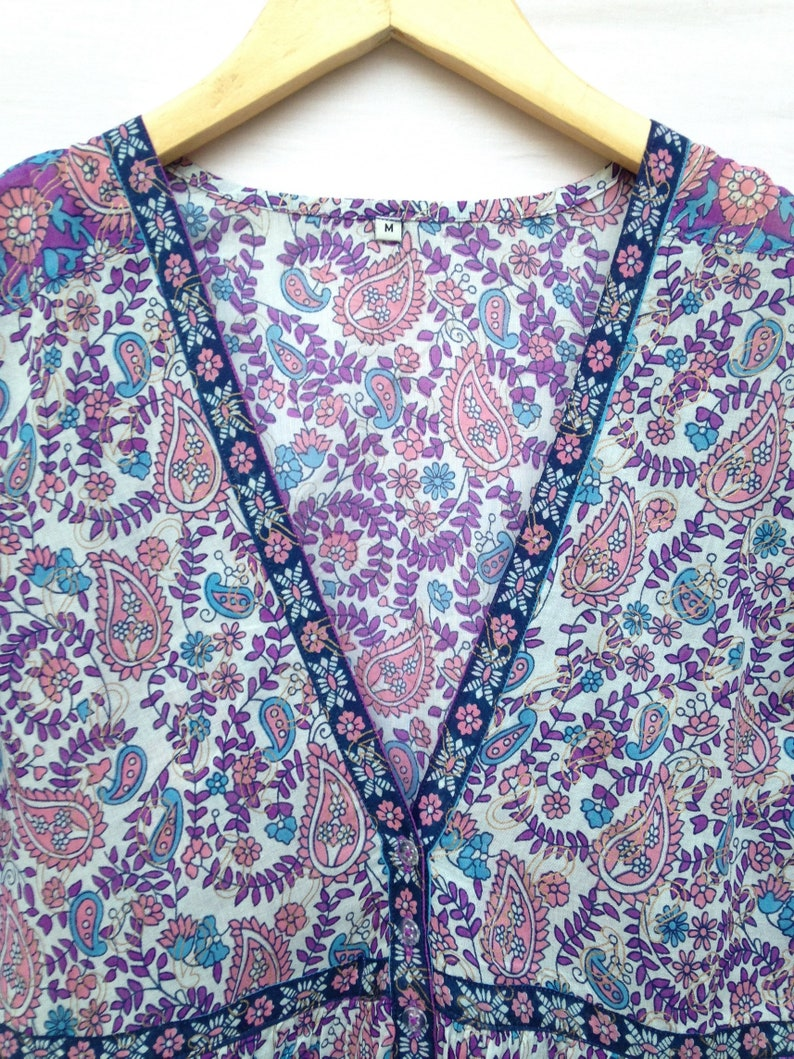 cotton purple blue paisley screen printed short sleeve V neck women/'s maxi dress  summer bohemian dress  Size SM