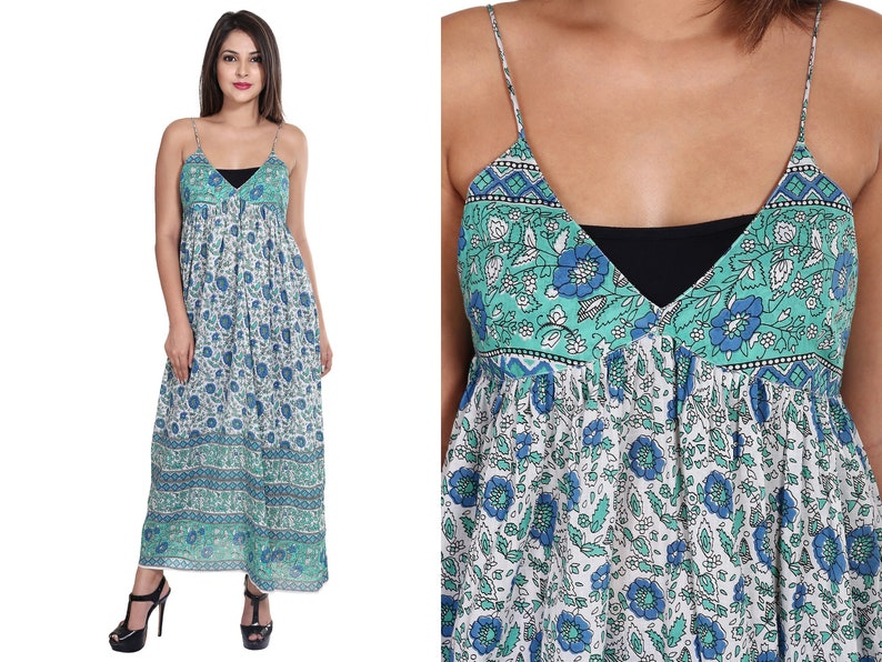 7582fd69086 Cotton green blue floral sleeveless halter neck maxi dress