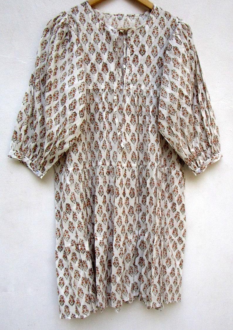 round neckline with ties mini maxi dress 34th sleeve with buttons mini maxi dress vintage off white plant printed mini maxi dress