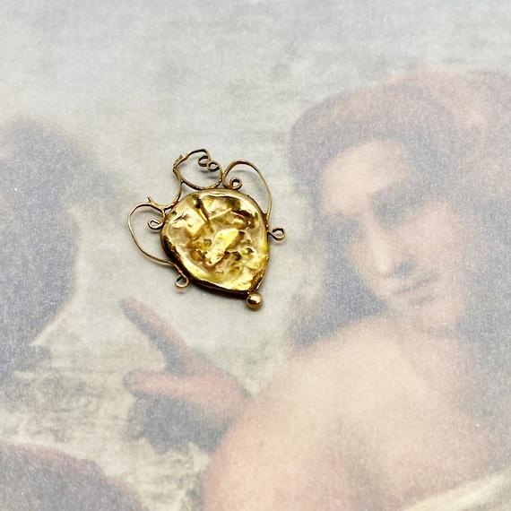 14k Gold Victorian Heart Pendant, Antique Heart Lo