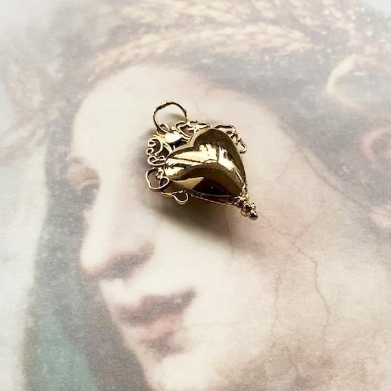 Antique 14k Gold Heart Pendant, Victorian Reliquar