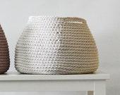 Crocheted linen color storage basket / knitted toy basket / nursery room decor / storing basket / storage bin / nursery storage