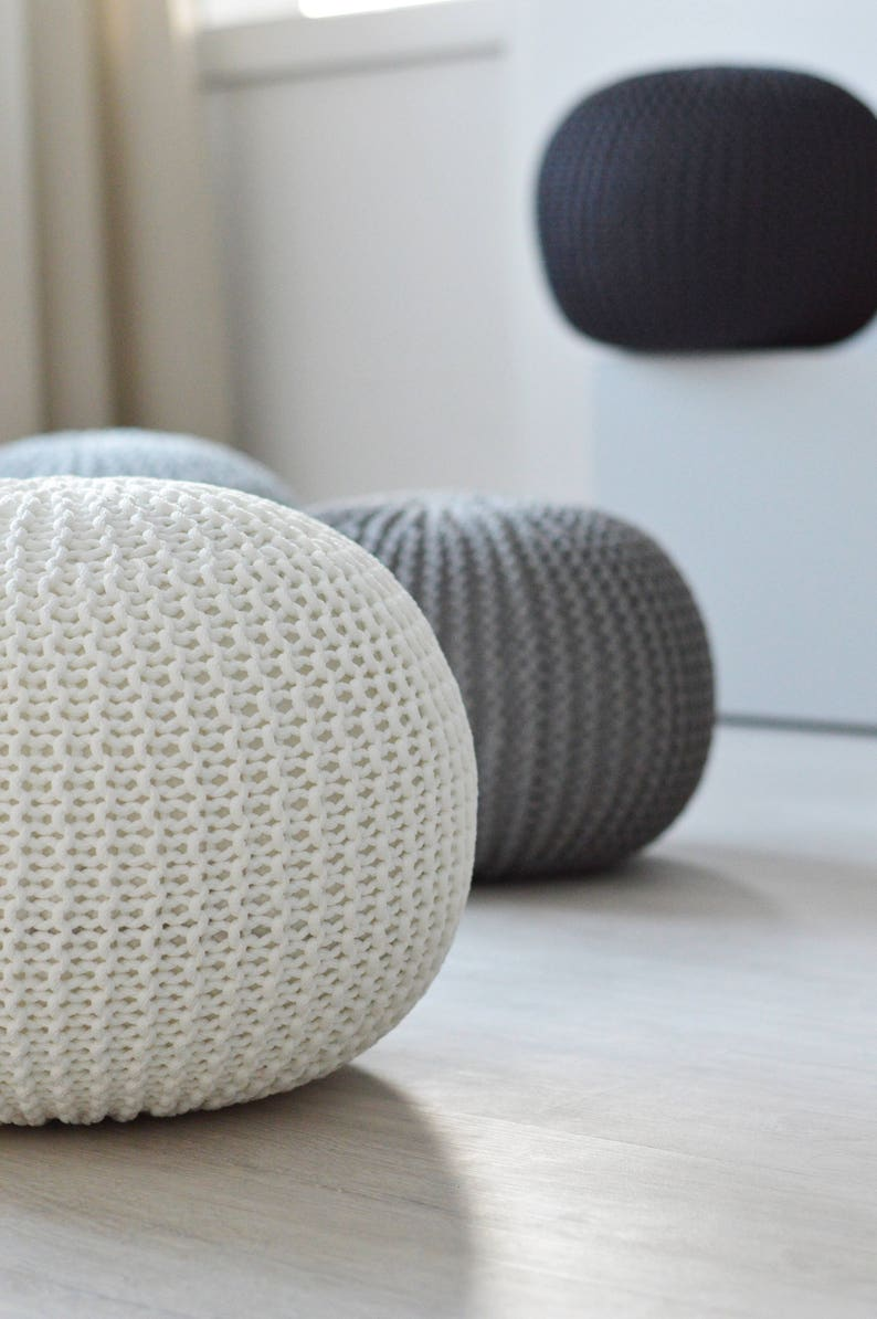 Knitted white / grey color pouf / STUFFED / nursery room decor image 0