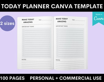 Today Planner Book - Amazon KDP - Canva Template - 2 Sizes - 100 Pages - Commercial Use