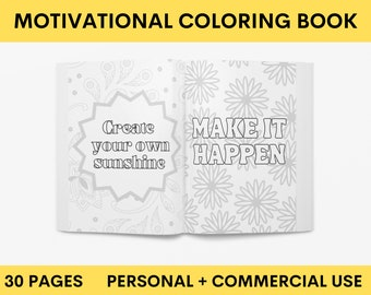 Motivational Quotes Coloring Book | Positive Quotes Coloring Pages | Personal + Commercial Use | Instant Download PDF