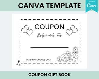 KDP Coupon Gift Book | Interior Canva Template Editable Customizable | Commercial Use