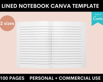 Lined Notebook - Amazon KDP - Canva Template - 2 Sizes - 100 Pages - Commercial Use