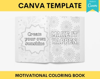 KDP Motivational Quotes Coloring Book | Interior Canva Template Editable Customizable | Commercial Use