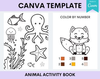 KDP Kids Animal Activity Book | Interior Canva Template Editable Customizable | Commercial Use