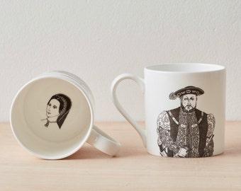 Henry VIII  Bone China Mug, Anne Boleyn, coffee mug, ceramic mug, tea mug, ceramic mug, gift for him, new home gift, King Henry, Tudor
