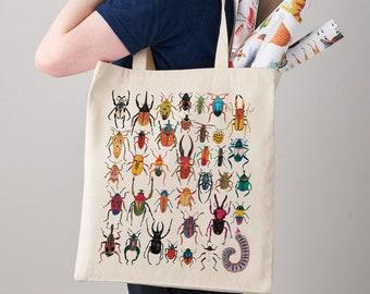 Exotic Bugs Canvas Tote Bag, canvas bag, insects, shoulder bag, shopper, bug print, gift for her, shopper bag, insects, bug illustration