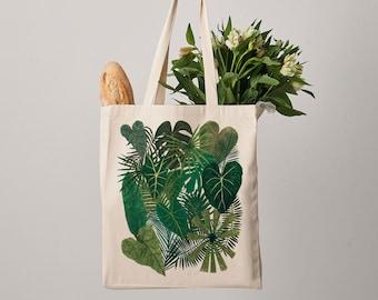 Botanical Plants Canvas Tote Bag, Plant bag, botanical print, shopper, shoulder bag, fair trade, botanical bag, gift for her, shopper bag