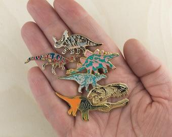 Dinosaur Enamel Pin Set, Dinosaur pin badges, Dinosaur Badge, Hat Pin, Enamel Badge, Dinosaur Gift, Lapel Pin, Dinosaur Brooch, Dino pin