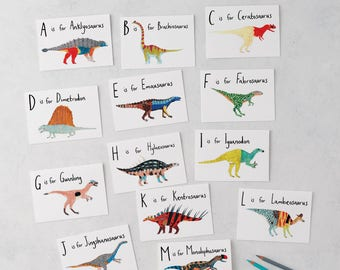 A-Z Dinosaurs Greeting Cards,  Birthday Card, Illustration, Triceratops, Animal card, Dinosaur Print, Dinosaur Card, Childrens card