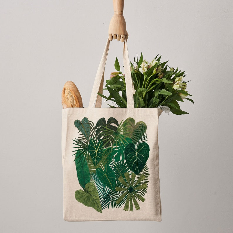 Botanical Plants Canvas Tote Bag Plant bag botanical print image 0
