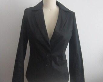 45581d1c3c Veste en coton Vintage femme noir Vintage coton veste femme 80 s 2 touche  équipée veste blazer femme veste noire en coton noir blazer