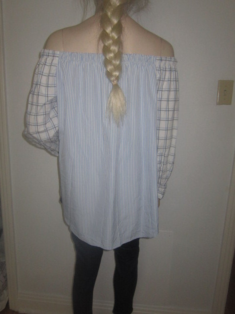 Women Off Shoulder Shirt Upcycled Longsleeve Shirt Boho Tunic Upcycled Clothing Bohemian Tunic Top Recycled One of a Kind Made to Order