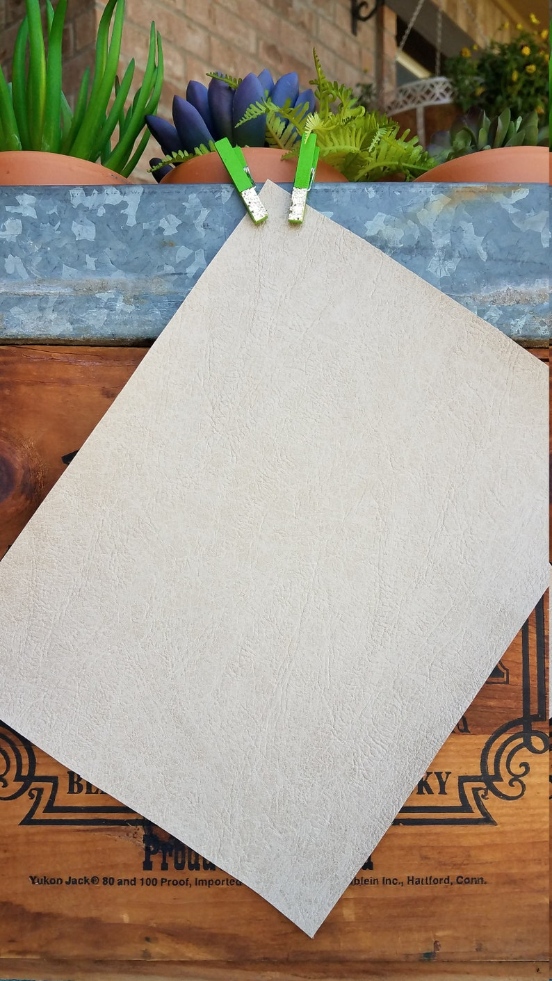 8x11 Distressed Cream Lightly Textured Faux Leather Sheet for Bows and Jewelry
