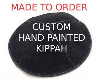 Hand Painted Custom Bar Mitzvah Kippah, Custom Name Kippah, Custom Personalized Yarmulke Design, Jewish Kippah Head Covering Suede Kippot