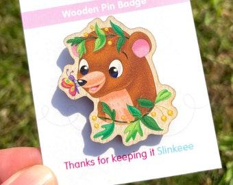 Wooden pin badge, wooden pin, bear pin, wooden bear pin, bear pin badge, bear badge, bear brooch, wooden brooch, badge, bear badge, pin